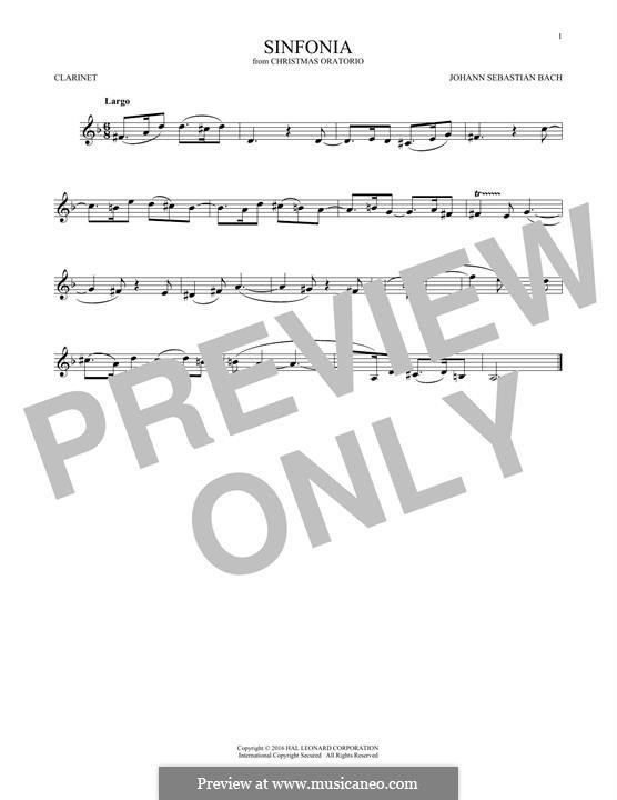 Рождественская оратория, BWV 248: Sinfonia, for clarinet by Иоганн Себастьян Бах