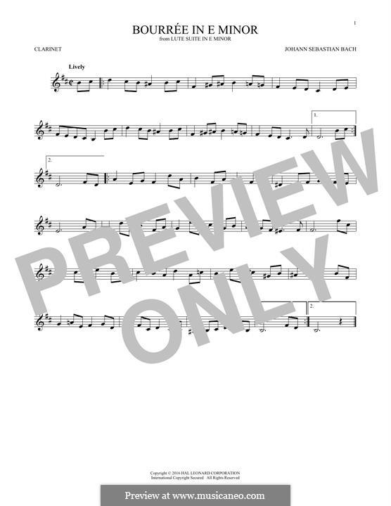 Сюита для лютни (или клавесина) ми минор, BWV 996: Bourrée. Version for clarinet by Иоганн Себастьян Бах