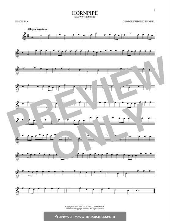 Сюита No.2 ре мажор, HWV 349: Alla Hornpipe, for tenor saxophone by Георг Фридрих Гендель