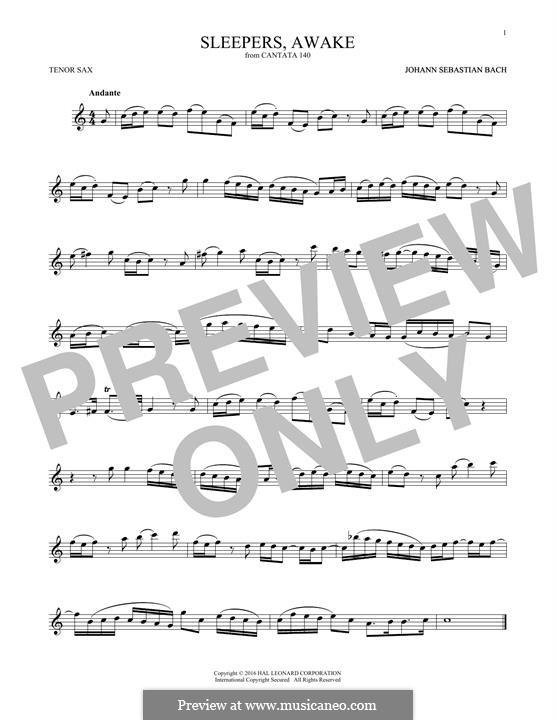 Sleepers, Awake: Для тенорового саксофона by Иоганн Себастьян Бах