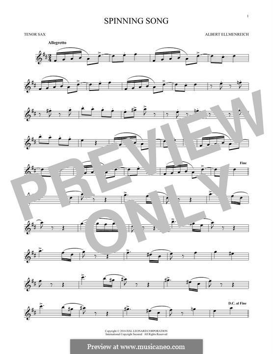 The Spinning Song: Для тенорового саксофона by Albert Ellmenreich