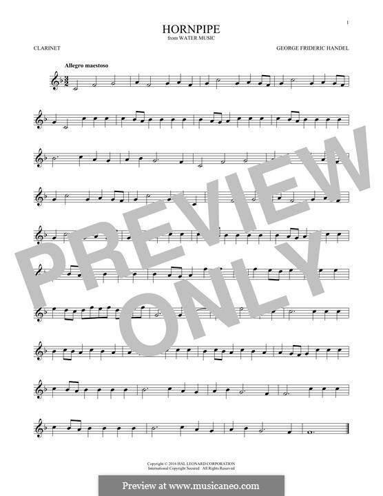 Сюита No.2 ре мажор, HWV 349: Alla Hornpipe, for clarinet by Георг Фридрих Гендель