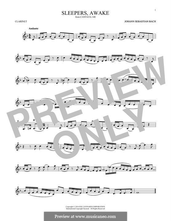 Sleepers, Awake: Для кларнета by Иоганн Себастьян Бах