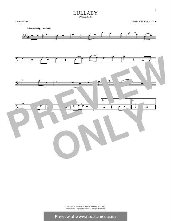 No.4 Колыбельная: For trombone by Иоганнес Брамс