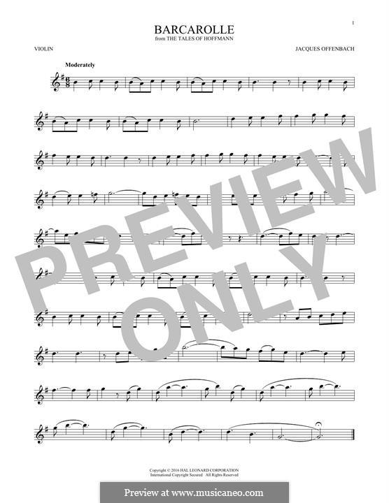 Баркарола: Version for violin by Жак Оффенбах
