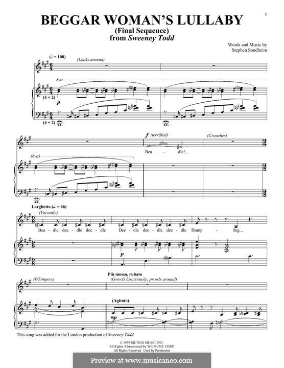 Beggar Woman's Lullaby (Final Sequence): Для голоса и фортепиано by Stephen Sondheim