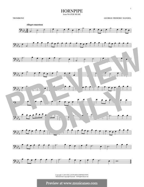Сюита No.2 ре мажор, HWV 349: Alla Hornpipe, for trombone by Георг Фридрих Гендель