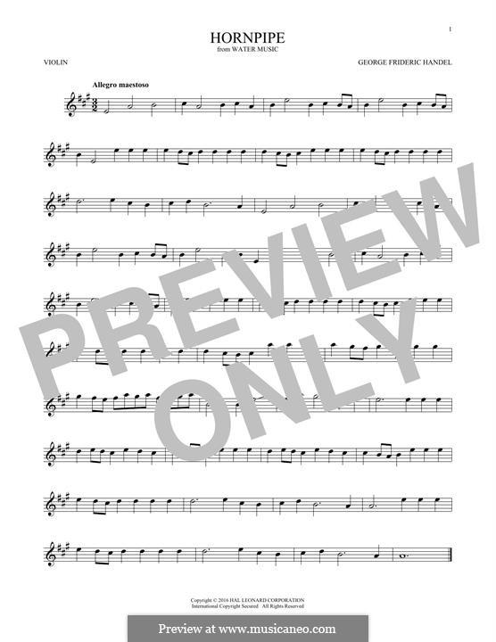 Сюита No.2 ре мажор, HWV 349: Alla Hornpipe, for violin by Георг Фридрих Гендель