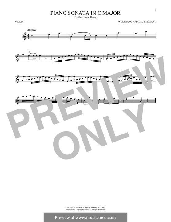 Соната для фортепиано No.16 до мажор, K.545: Movement I (Theme), for violin by Вольфганг Амадей Моцарт