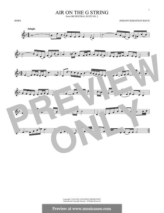 Aria (Printable Scores): Version for horn by Иоганн Себастьян Бах