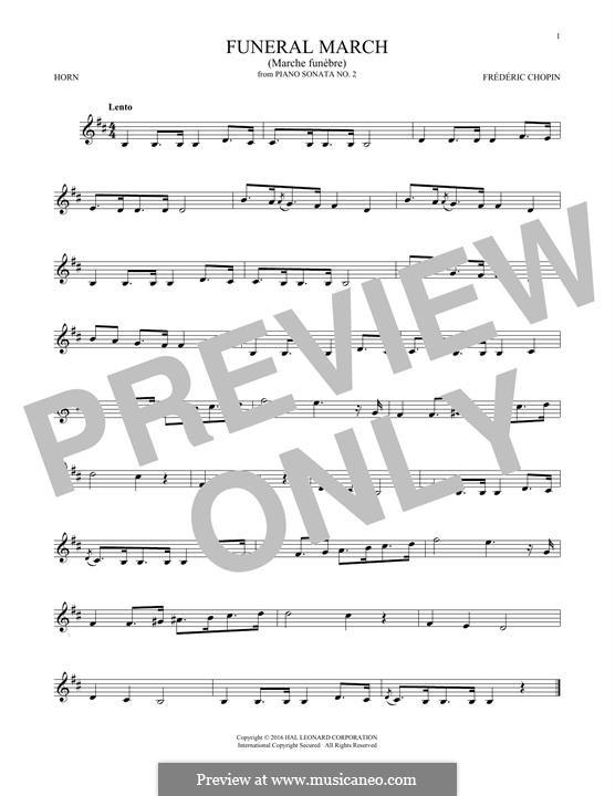 Соната для фортепиано No.2 си-бемоль минор, Op.35: Movement III (Theme), for horn by Фредерик Шопен