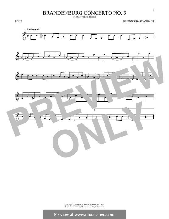 Бранденбургский концерт No.3 соль мажор, BWV 1048: Movement I (Theme). Version for horn by Иоганн Себастьян Бах