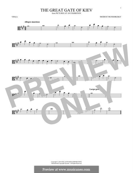 No.10 Богатырские ворота. В стольном городе во Киеве: For viola by Модест Мусоргский