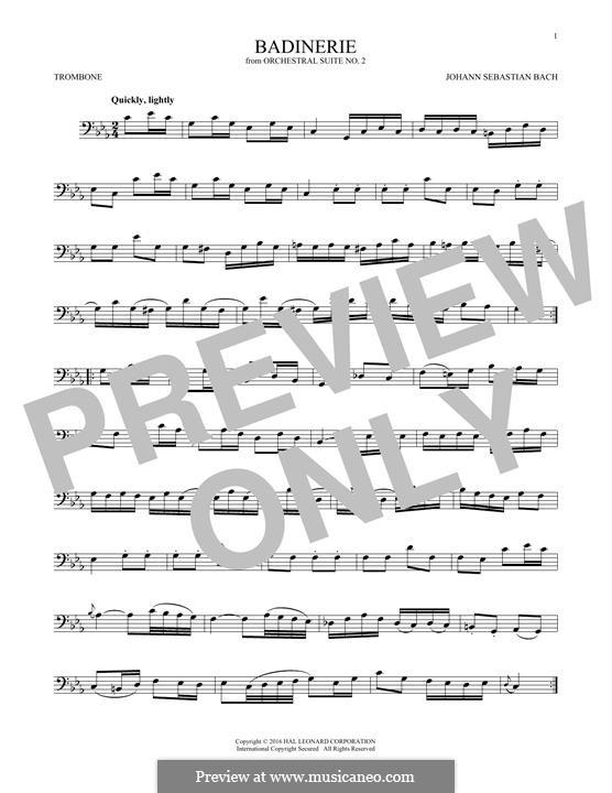 Сюита для оркестра No.2 си минор, BWV 1067: Badinerie. Version for trombone by Иоганн Себастьян Бах