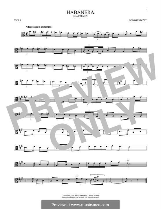 Хабанера: For viola by Жорж Бизе