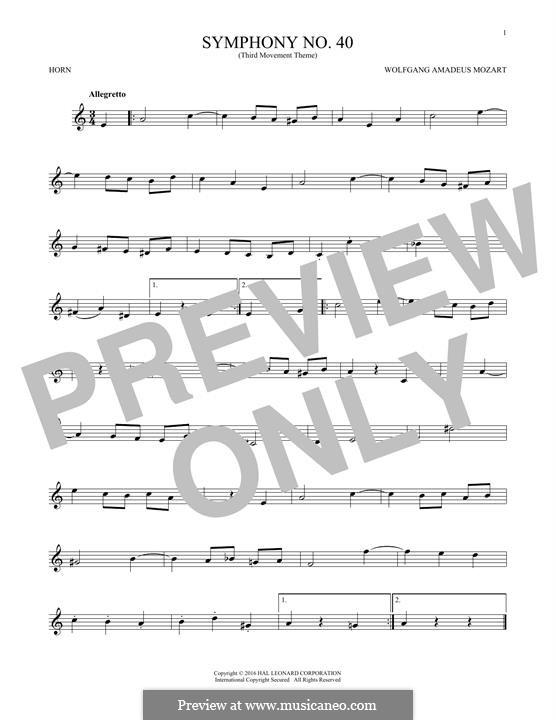 Часть III: Theme, for horn by Вольфганг Амадей Моцарт