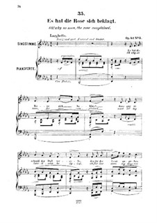 Шесть песен, Op.42: No.5 Es hat die Rose sich beklagt (Oh! Why so Soon, the Rose Complained) by Роберт Франц