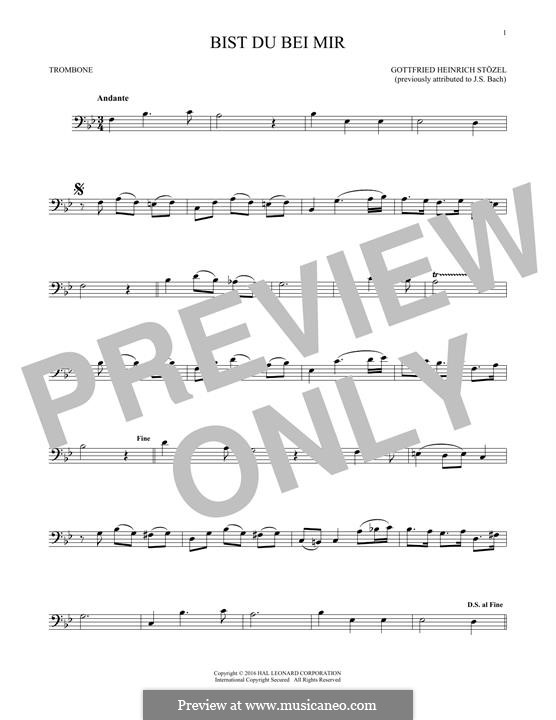 No.25 Bist du bei mir (You Are with Me), Printable scores: For trombone by Иоганн Себастьян Бах