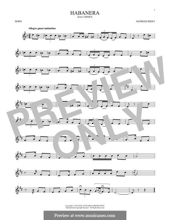 Хабанера: For horn by Жорж Бизе