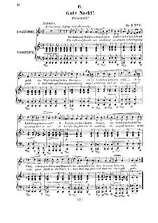 Двенадцать песен, Op.5: No.7 Gute Nacht (Farewell) by Роберт Франц