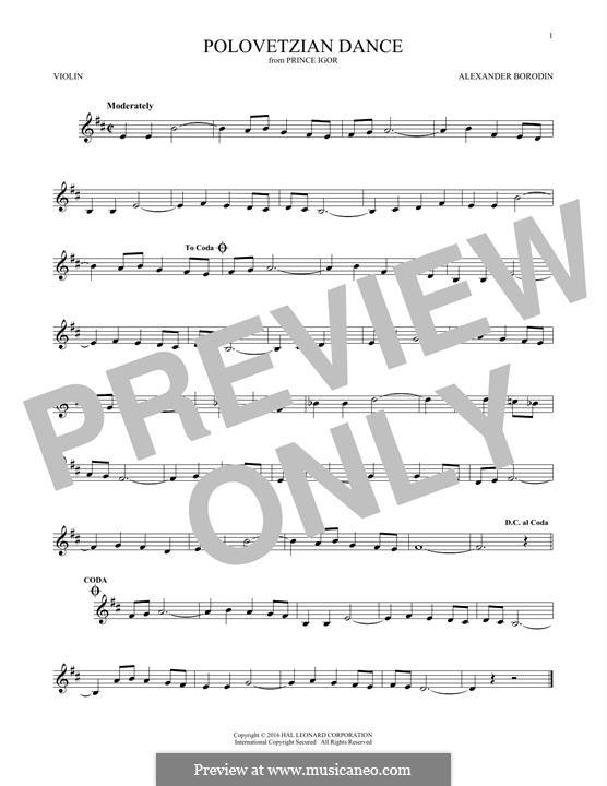 Половецкие пляски: Theme, for violin by Александр Бородин