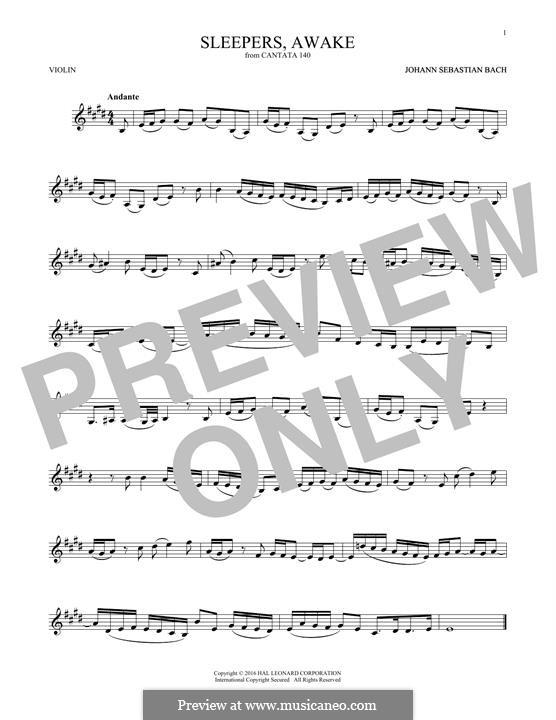 Sleepers, Awake: Для скрипки by Иоганн Себастьян Бах