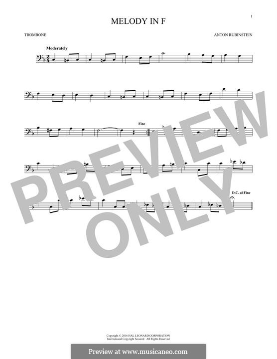 Две мелодии, Op.3: Melody No.1, for trombone by Антон Рубинштейн