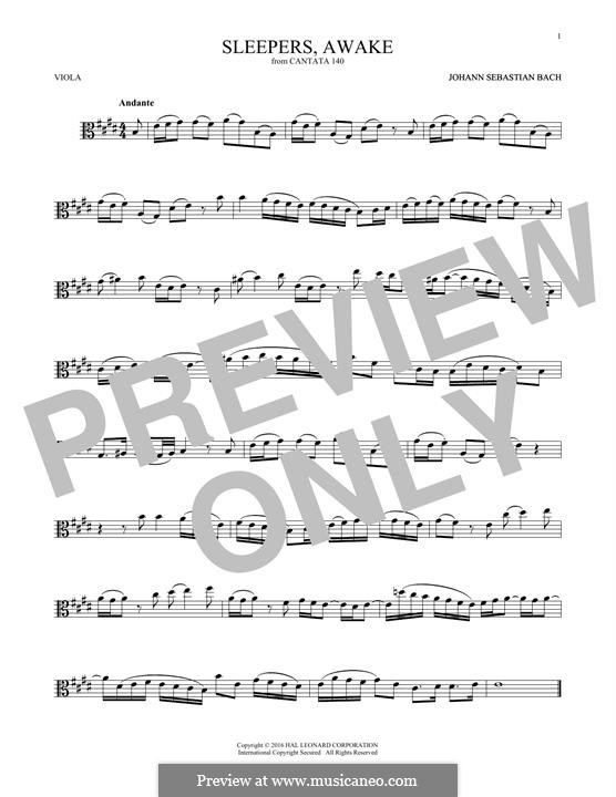 Sleepers, Awake: For viola by Иоганн Себастьян Бах