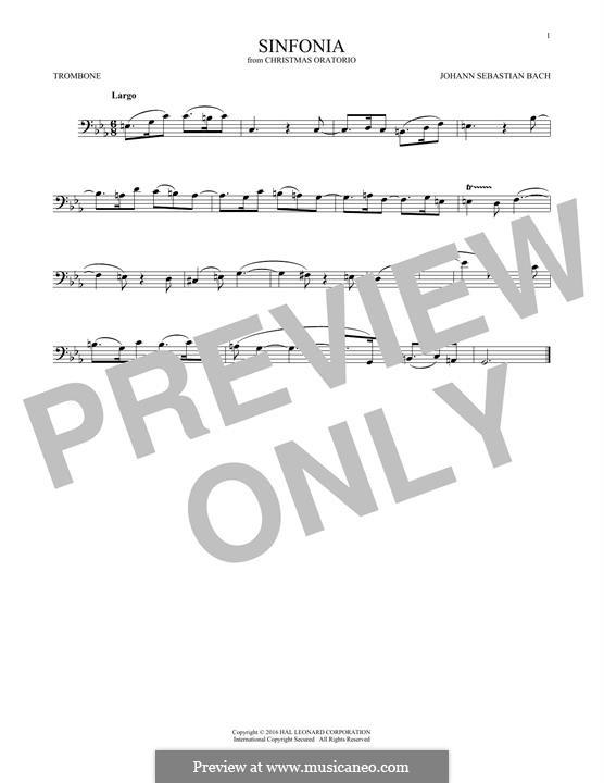 Рождественская оратория, BWV 248: Sinfonia, for trombone by Иоганн Себастьян Бах