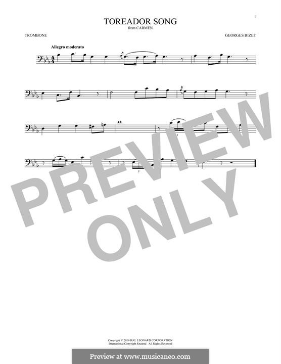 Куплеты Тореадора: For trombone by Жорж Бизе