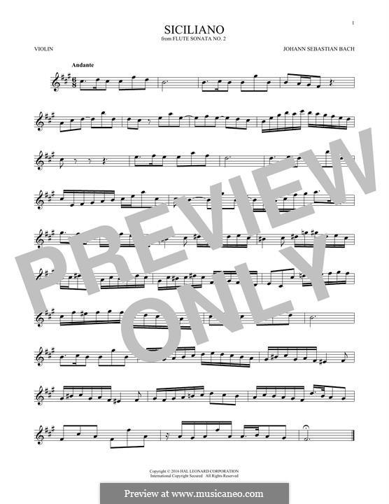 Соната для флейты и клавесина No.2 ми-бемоль мажор, BWV 1031: Siciliano. Arrangement for violin by Иоганн Себастьян Бах