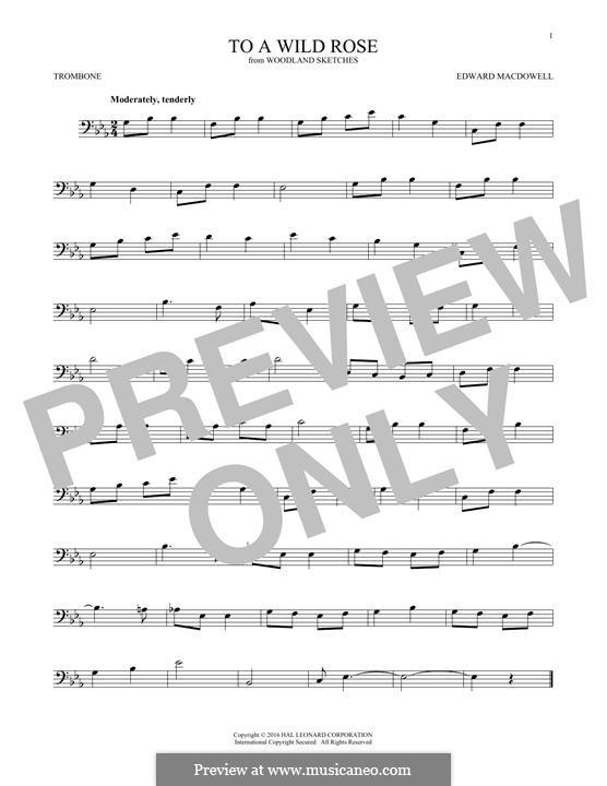 No.1 К дикой розе: For trombone by Эдвард Макдоуэлл