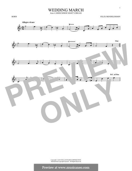 Wedding March (Printable Scores): Theme, for horn by Феликс Мендельсон-Бартольди