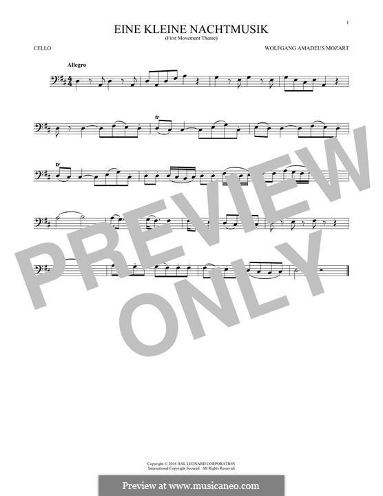 Аллегро: Excerpt, for cello by Вольфганг Амадей Моцарт