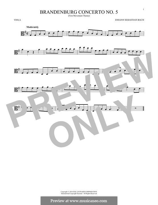 Бранденбургский концерт No.5 ре мажор, BWV 1050: Movement I (Theme), for viola by Иоганн Себастьян Бах