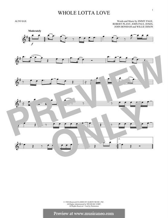 Whole Lotta Love (Led Zeppelin): Для альтового саксофона by John Paul Jones, Jimmy Page, John Bonham, Robert Plant