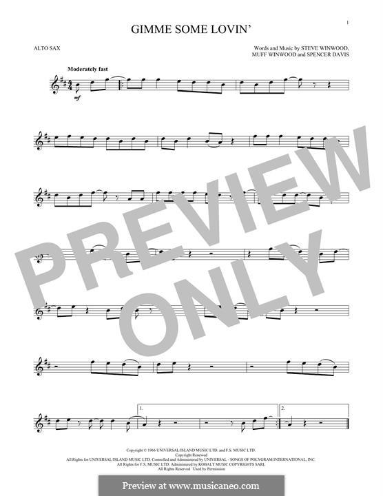 Gimme Some Lovin' (The Spencer Davis Group): Для альтового саксофона by Muff Winwood, Spencer Davis, Steve Winwood