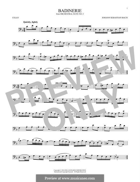 Сюита для оркестра No.2 си минор, BWV 1067: Badinerie. Version for cello by Иоганн Себастьян Бах