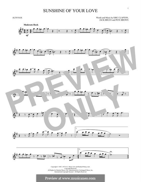 Sunshine of Your Love (Cream): Для альтового саксофона by Eric Clapton, Jack Bruce, Pete Brown