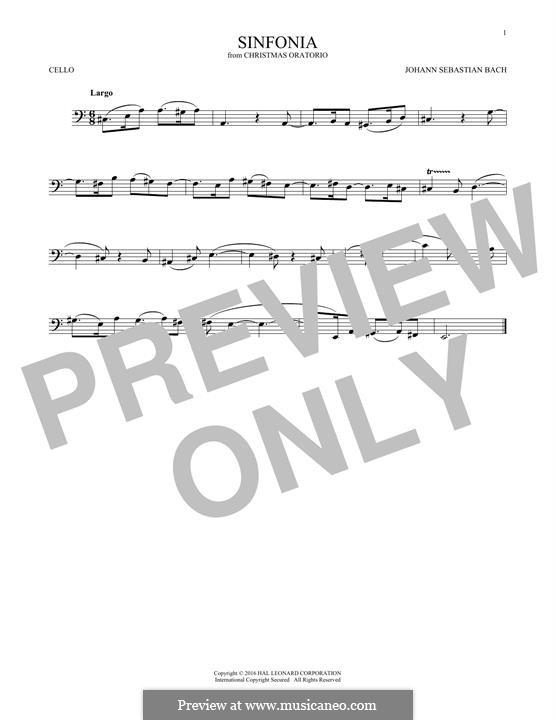 Рождественская оратория, BWV 248: Sinfonia, for cello by Иоганн Себастьян Бах