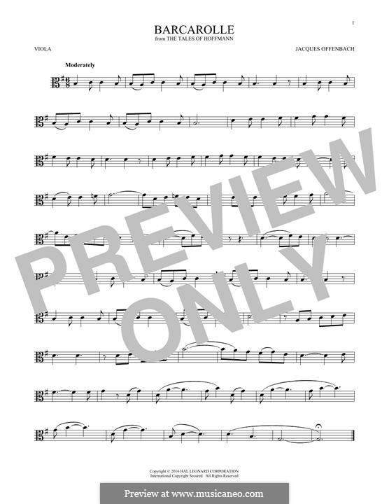 Баркарола: Version for viola by Жак Оффенбах