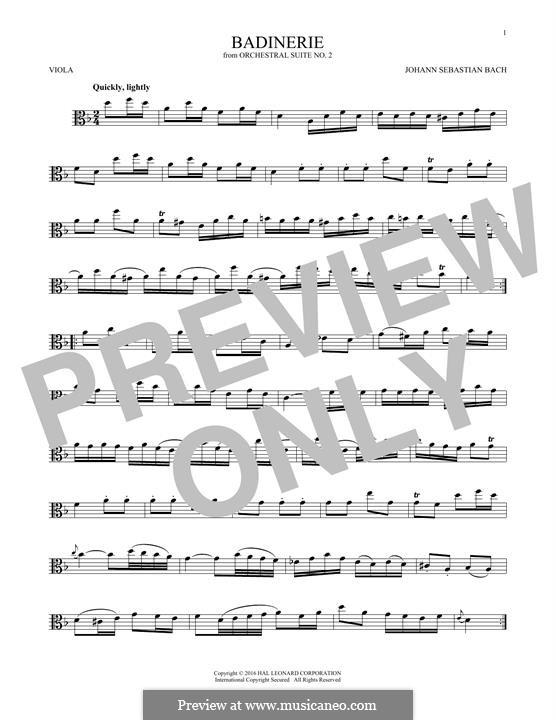 Сюита для оркестра No.2 си минор, BWV 1067: Badinerie. Version for viola by Иоганн Себастьян Бах