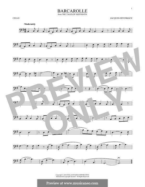Баркарола: Version for cello by Жак Оффенбах