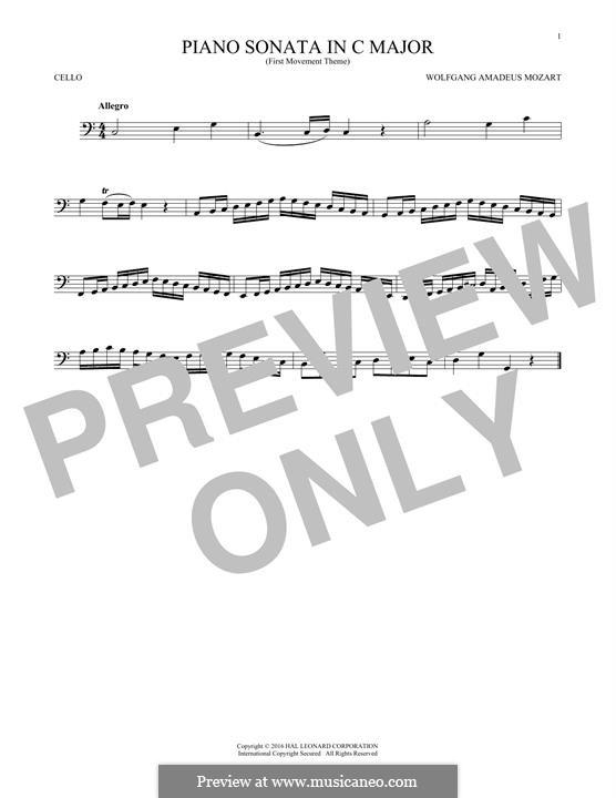 Соната для фортепиано No.16 до мажор, K.545: Movement I (Theme), for cello by Вольфганг Амадей Моцарт