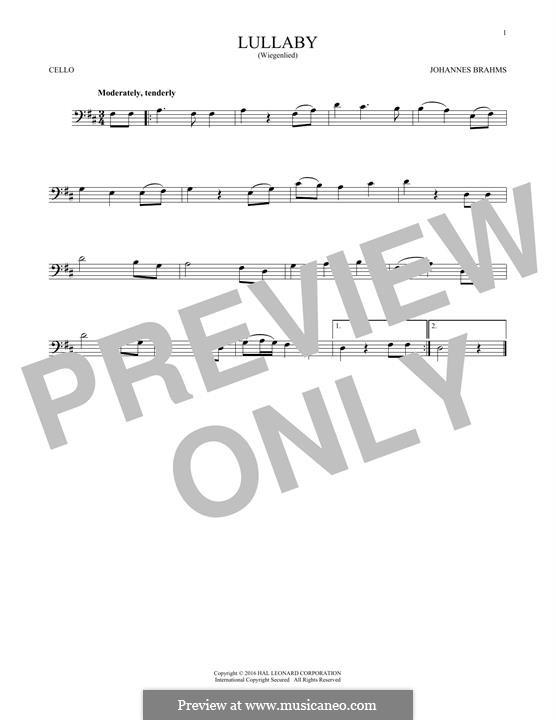 No.4 Колыбельная: Для виолончели by Иоганнес Брамс