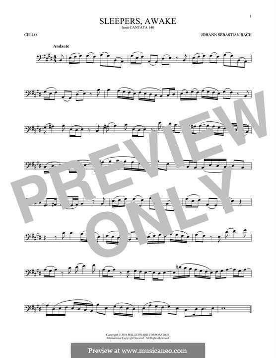 Sleepers, Awake: Для виолончели by Иоганн Себастьян Бах