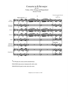 Concerto for Violin, Cello and Strings in B Flat Major, RV 547: Score, parts by Антонио Вивальди
