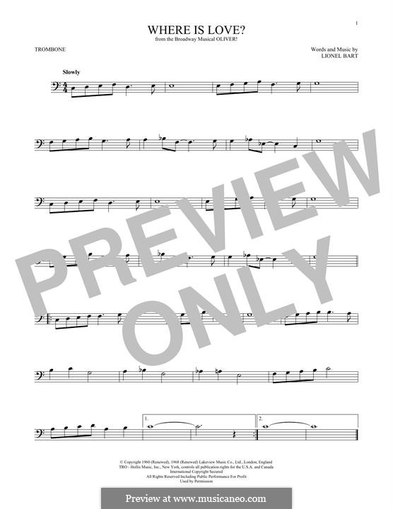 Where Is Love?: For trombone by Lionel Bart