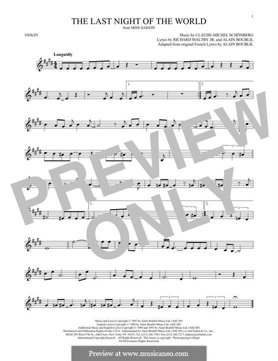 The Last Night of the World: Для скрипки by Claude-Michel Schönberg