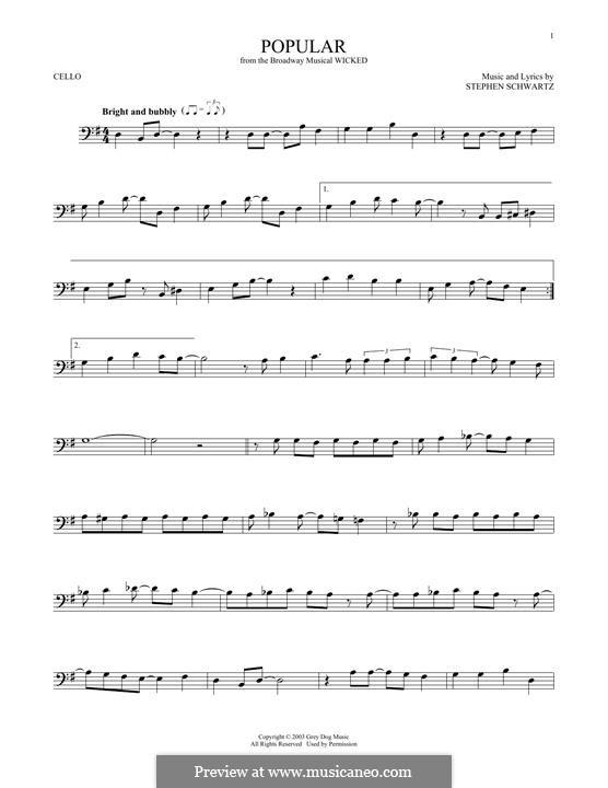 Popular (from Wicked): Для виолончели by Stephen Schwartz